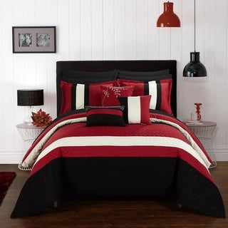 Chic Home 10-Piece Jared Bed-In-A-Bag Red Comforter Set