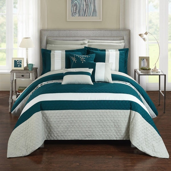 Charming Chic Home 10 Piece Jared Bed In A Bag Teal Comforter Set