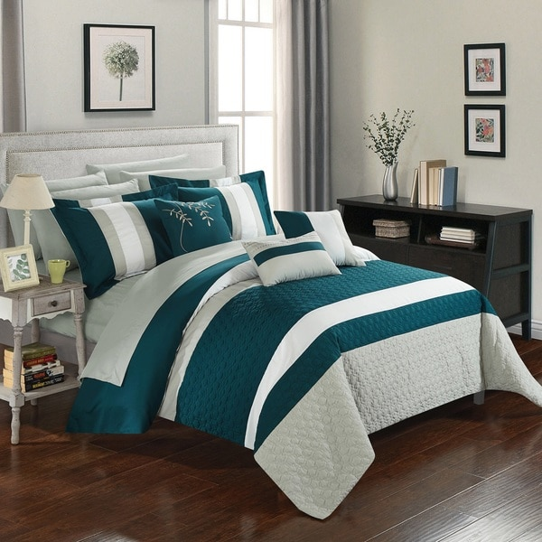 Chic Home 10-Piece Jared Bed-In-A-Bag Teal Comforter Set - Free ...