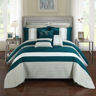 Chic Home 10-Piece Jared Bed-In-A-Bag Teal Comforter Set