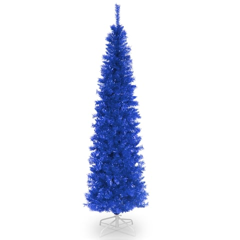National Tree Company 6' Blue Decorative Tinsel Christmas Tree with Metal Stand