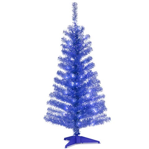 National Tree Company 4' Blue Decorative Tinsel Christmas Tree with Plastic Stand and Clear Lights