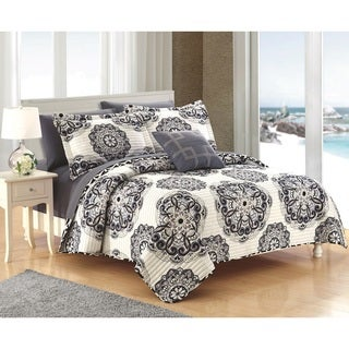 Chic Home 4-Piece Miranda Black Quilt Set