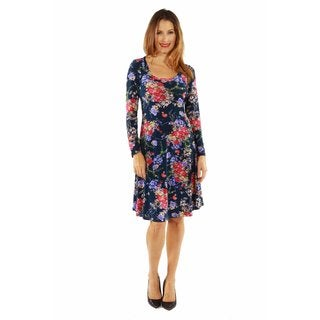 24/7 Comfort Apparel Women's Slim and Pretty Floral Midi Dress