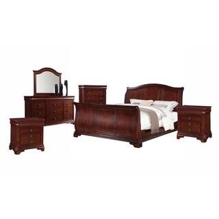 Gracewood Hollow Bujalski Cherry Queen Sleigh 6-piece Bedroom Set