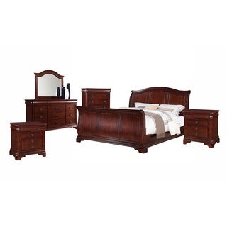 Gracewood Hollow Bujalski Cherry Queen Sleigh 6 Piece Bedroom Set