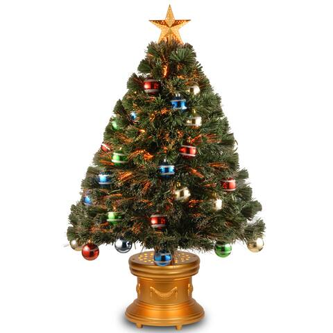 """National Tree Company 36"""" Fiber Optic Fireworks Christmas Tree with Glittered Ball Ornaments and Gold Top Star - N/A"""