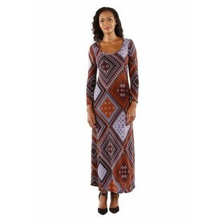 24/7 Comfort Apparel Women's Queen Bee Patterned Maxi Dress