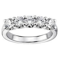 14k/18k White Gold 1 1/4ct TDW Round Diamond Wedding Band