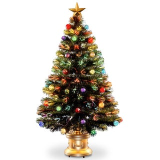 Multicolored Fireworks Fiber Optic 48-inch Tree on Gold Column Base With Ball Ornaments