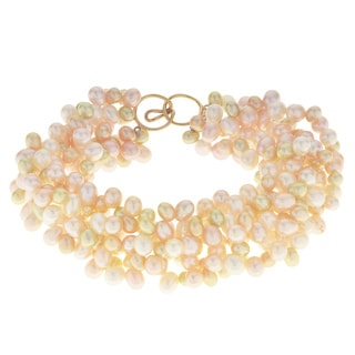 Pearls For You 14k Yellow Gold Multicolor Freshwater 7.5-inch Pearl Bracelet