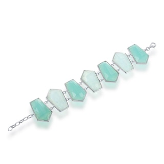 La Preciosa Green/Teal Sterling Silver Doublet MOP and Faceted Obsidian Bracelet