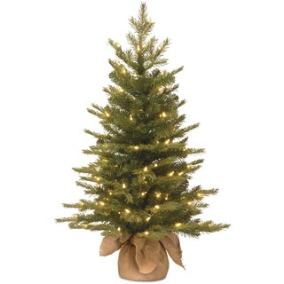 "3' ""Feel Real"" Nordic Spruce Small Tree in Burlap with 100 Clear Lights"