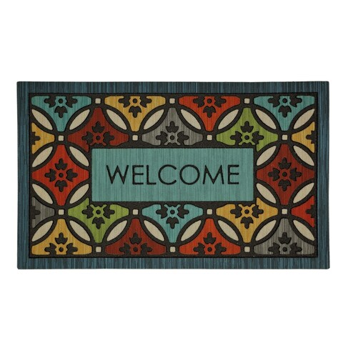 """Mohawk Home Doorscapes Clementine Shades Mat - Blue/Red/Yellow - 1'6"""" x 2'6"""""""