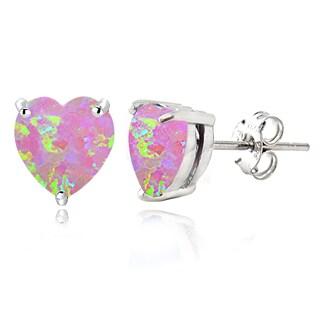 Glitzy Rocks Sterling Silver Created Opal Heart Stud Earrings, 7mm