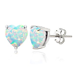 Glitzy Rocks Sterling Silver Created Opal Heart Stud Earrings, 7mm
