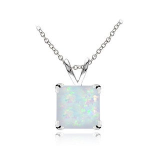 Glitzy Rocks Sterling Silver Created Opal 7mm Square Solitaire Necklace