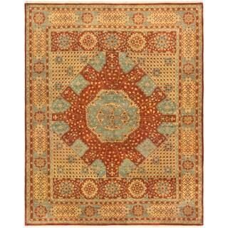 eCarpetGallery Mamluk Blue/Orange Wool and Cotton Hand-knotted Oriental Area Rug (8'1 x 9'10)