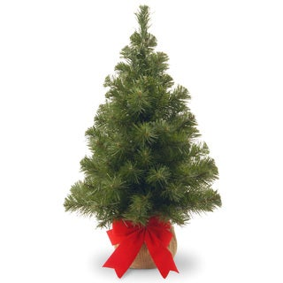 Noble Spruce 2-foot Artificial Tree on Burlap Base With Red Bow