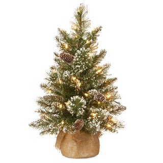 Glittery 2-foot Bristle Pine Tree with Battery Operated Warm White LED Lights