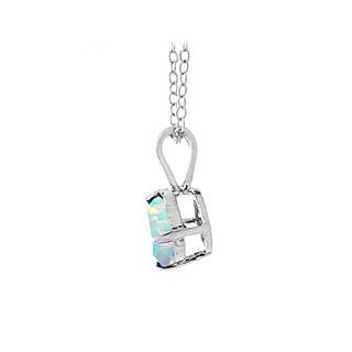 Glitzy Rocks Sterling Silver Created Opal 7mm Round Solitaire Necklace