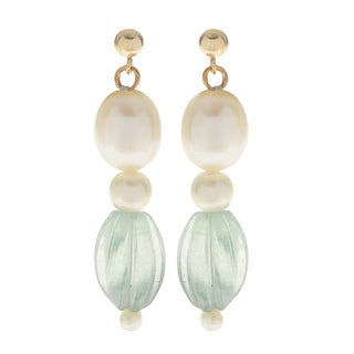 Pearls For You 14k White Freshwater Pearl and Green Fluorite Drop Earrings (2-3 mm, 5-5.5 mm, 8-8.5 mm)