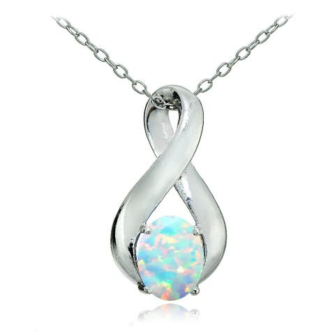 Glitzy Rocks Sterling Silver Created Opal Infinity Necklace