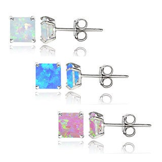 Glitzy Rocks Sterling Silver Multi Color Created Opal Set of 3 Square Stud Earrings Set 4mm