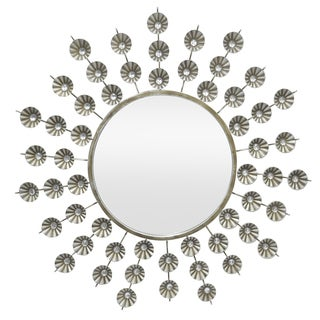 Three Hands Antique Silver Metal Jeweled Decorative Mirror