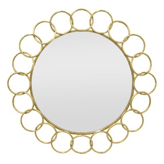 Three Hands Gold-colored Round Link Metal Wall Mirror (As Is Item)