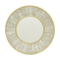 Three Hands Gold Bead Accents Round Decorative Wall Mirror With Antique Mirrored Frame