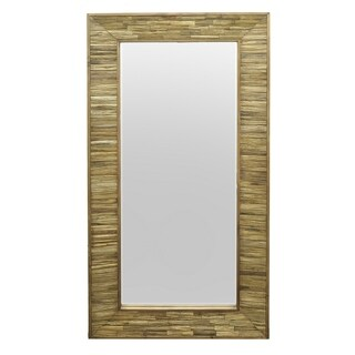 Three Hands Natural Wood Slatted Wall Mirror