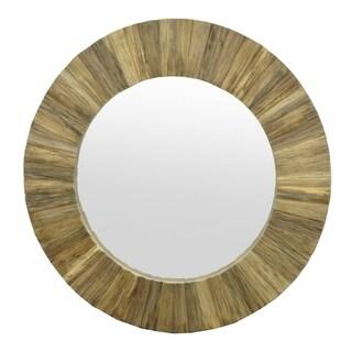 Three Hands Natural Brown Wood Slat Circular Wall Mirror