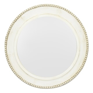 Three Hands Off-white Wood Round Wall Mirror with Beaded Border
