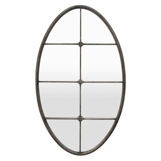 Three Hands 23363 Silver Oval Decorative Wall Mirror with Mullion Detail
