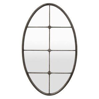 Three Hands Silver Oval Decorative Wall Mirror with Mullion Detail