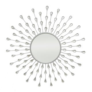 Three Hands Silver Starburst Jeweled Mirror