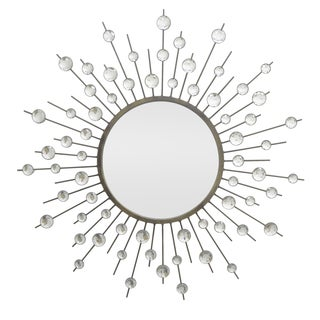 Three Hands Black Metal Starburst Jewel Mirror