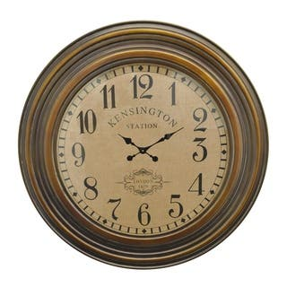 Three Hands Brown Wood Wall Clock With Kensington Station Clock Face|https://ak1.ostkcdn.com/images/products/12831197/P19597653.jpg?impolicy=medium