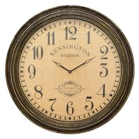Three Hands Brown Wall Clock with Kensington Station Clock Face and Wood Frame