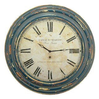 Three Hands Wall Clock With Canal St. Martin Clock Face and Wood Frame