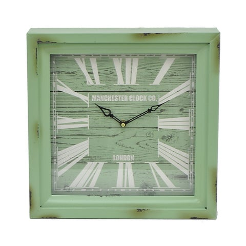 Three Hands Green Metal Wall Clock