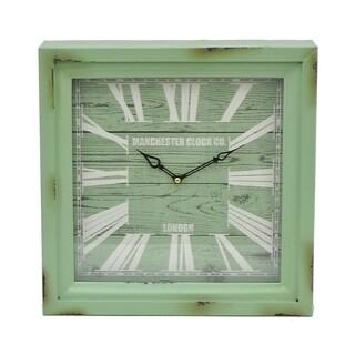 Three Hands Green Metal Wall Clock