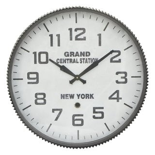 Three Hands Grand Central Station Grey Metal Wall Clock