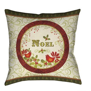 Laural Home Noel Holiday Red/Green/Off-white Polyester 18-inch Decorative Pillow