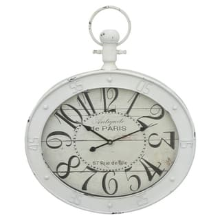 Three Hands White Metal Distressed Finish Large Arabic Numbers Wall Clock|https://ak1.ostkcdn.com/images/products/12831228/P19597664.jpg?impolicy=medium