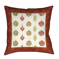 Laural Home Red/Green Polyester 18-inch Holiday Ornaments Pattern Decorative Pillow