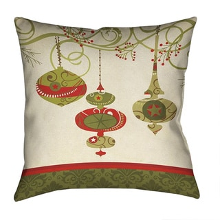 Laural Home Red/Green/Off-white Polyester 18-inch Square Christmas Ornaments Decorative Pillow