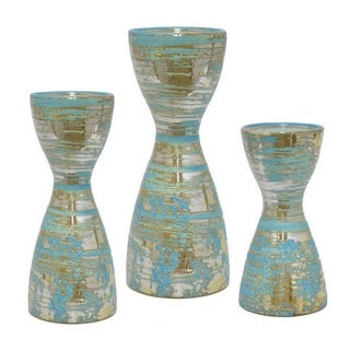 Three Hands Multicolor Ceramic Candle Holders (Set of 3)