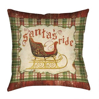 Laural Home Red/Green Polyester 18-inch Santa's Sleigh Decorative Pillow